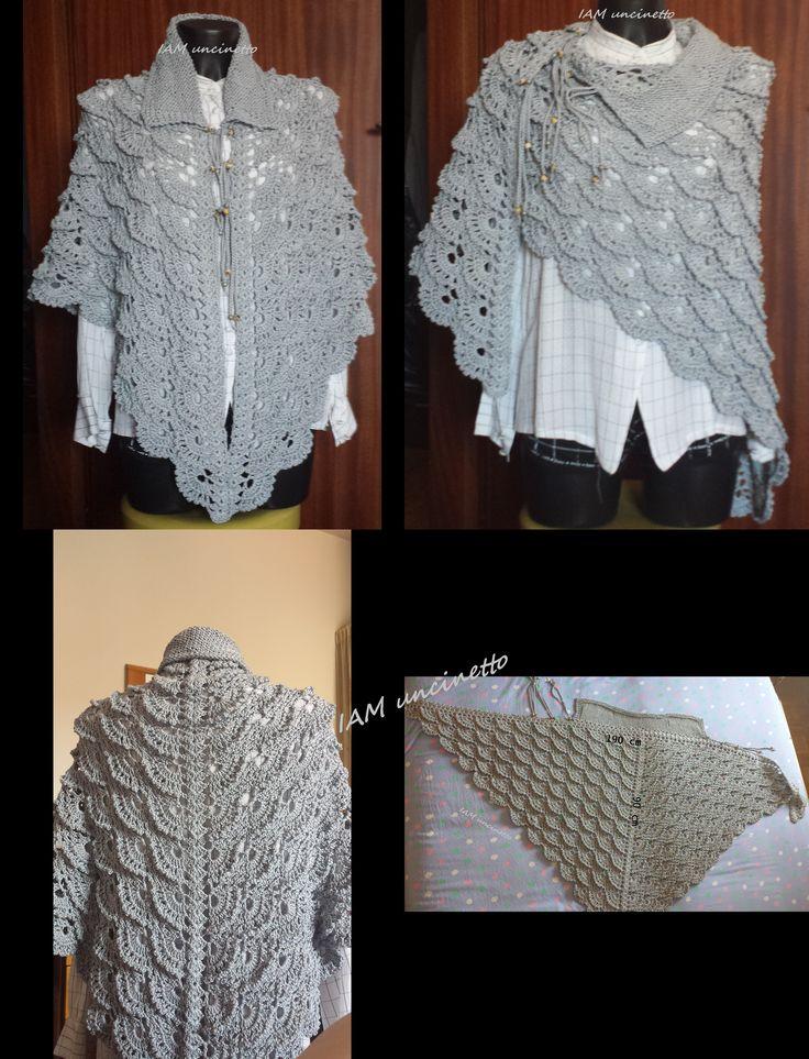 Giacca scialle grigia 100% cotone ad uncinetto con collo ai ferri. Crochet shawl - jacket with knitted neck. #iamuncinetto #virusshawl #madeinItaly #handmade #fattoamano