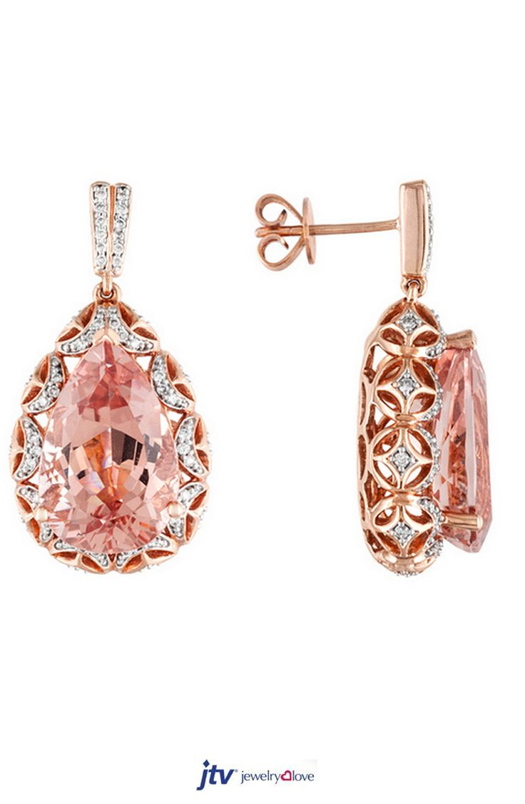 12.66ctw Pear Shape Cor-de-rosa Morganite With .45ctw Round White Diamond 18k Rose Gold Earrings