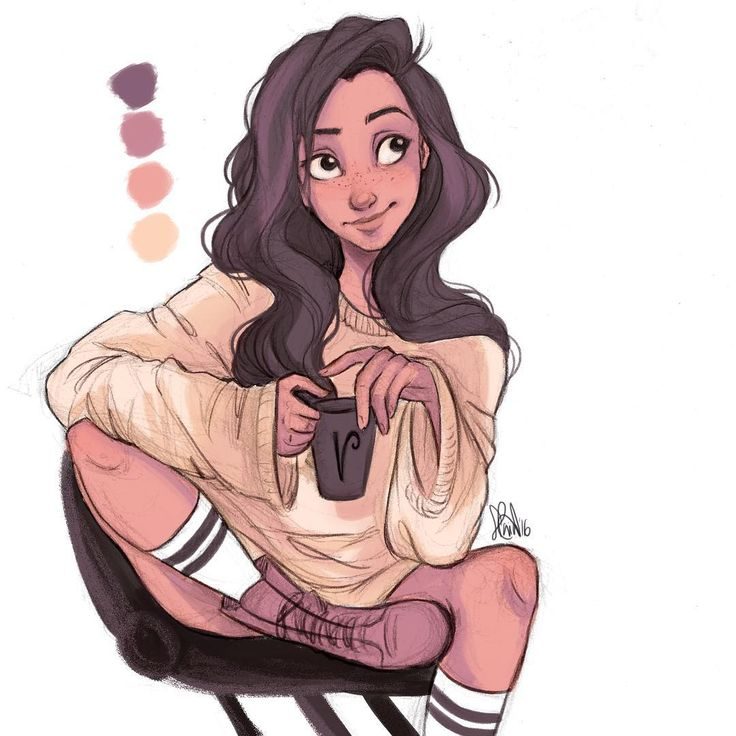 """Ahhhh these color pallette challenges are so much fun☕️ here's a quick coloring before I go to sleep☁️ (@ninagpineda OC Valentina from ""The Feeling"")✨"""