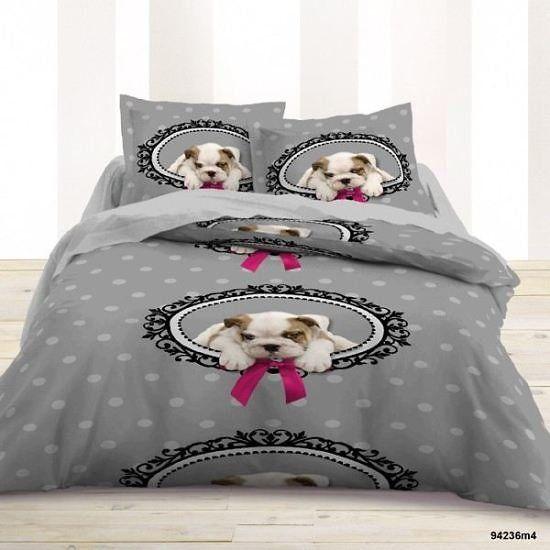 housse de couette et deux taies d 39 oreiller doggy love. Black Bedroom Furniture Sets. Home Design Ideas