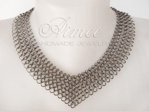 Stealth   stainless steel chainmaille necklace by AimeesJewelry, $67.90