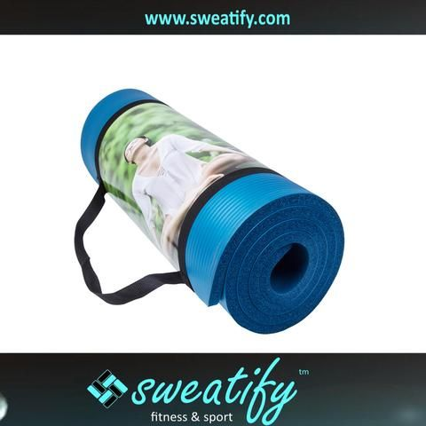 Sweatify 1/2 inch Extra Thick Anti-Tear Exercise Yoga Mat with Carrying Strap