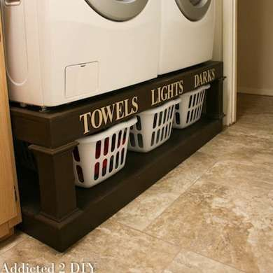I like this idea for my laundry baskets, but I don't want the washer and dryer on top