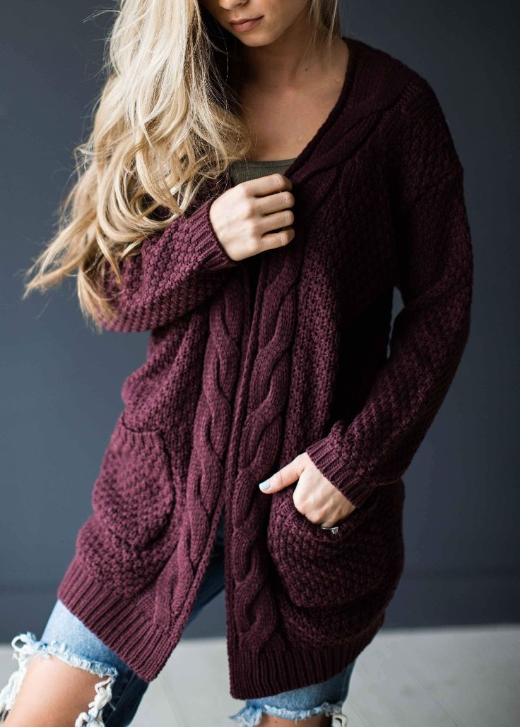 a maroon cable knit chunky cardigan that is too comfy