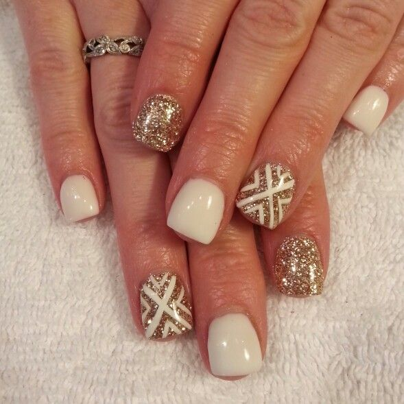 White gel gold glitter nails. Inspired by Ashley Tisdalel's nails