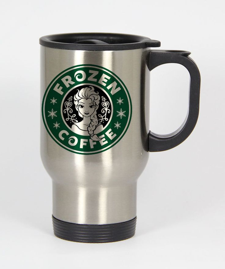 frozen coffee starbucks logo parody travel mugs coffee mug tea mug Size 14oz One Size Stainless Steel