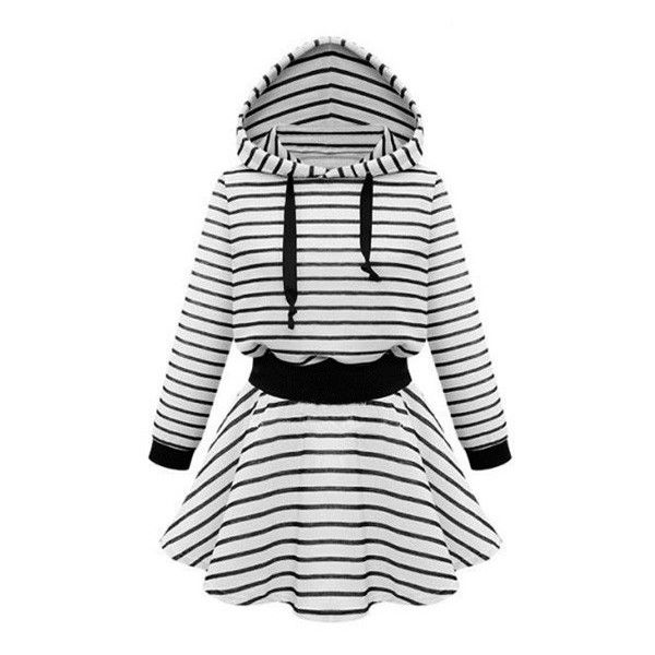Striped Hooded Skater Dress ($37) ❤ liked on Polyvore featuring dresses, white skater dress, white dress, skater dress and sporty dresses