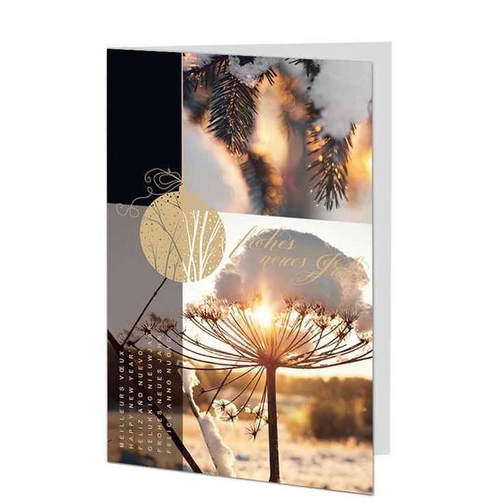 Stimmungsvolle Neujahrskarte mit edler Goldfolienprägung.