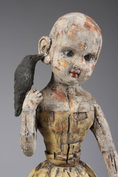 "Margaret Keelan •     ""Crow Whispering Secrets"", 20077"" x 13"" x 11"" deep. Clay, stains"