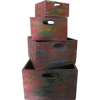 Antique distressed stacking storage box set of four #ad #farmhouse #storage #wayfair