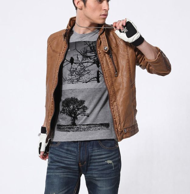 Men's Leather Jacket. Motorcycle Leather Jackets. Male Business casual Coats Brand New clothing veste en cuir,YA349