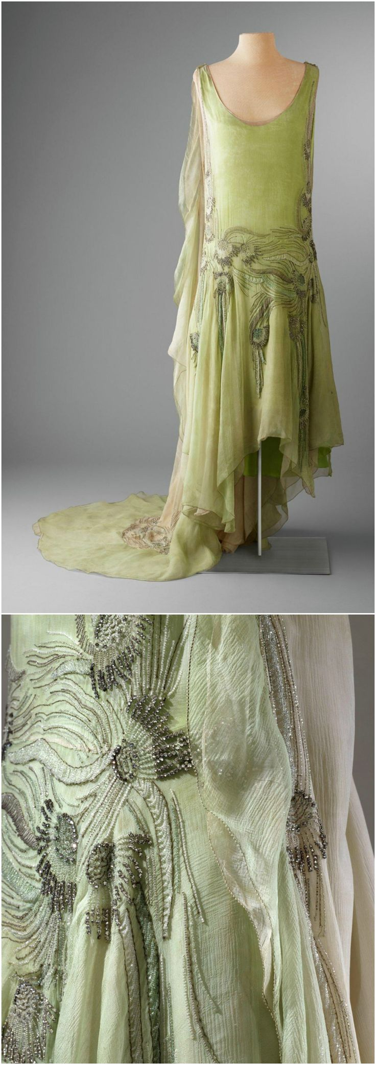 Evening dress, attributed to Callot Soeurs, 1929, Hillwood Estate, Museum & Gardens. Worn by Marjorie Merriweather Post for her presentation at the Court of St. James's. The tubular dress is sleeveless with dropped waistline and slightly flared at bottom. The garment is heavily beaded on the side seams and waist, both back and front, with rhinestones and clear bugle beads in a floral motif. Train attaches to dress with metal bars at dress shoulder. CLICK THROUGH FOR BIGGER IMAGES.