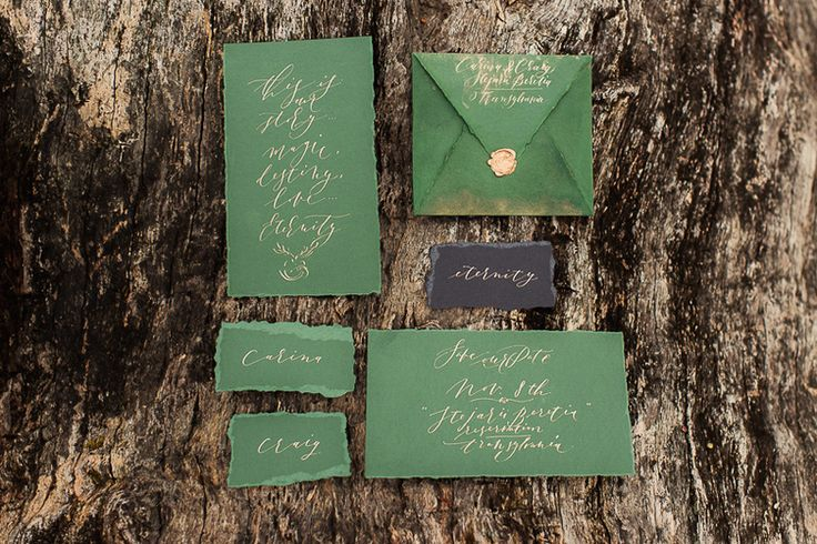 Inspirational organic wedding suite created for a styled shoot in Transylvania. Organic and artistic calligraphy handwritten in gold by CharminkCalligraphy and photographed by @landofwhitedeer