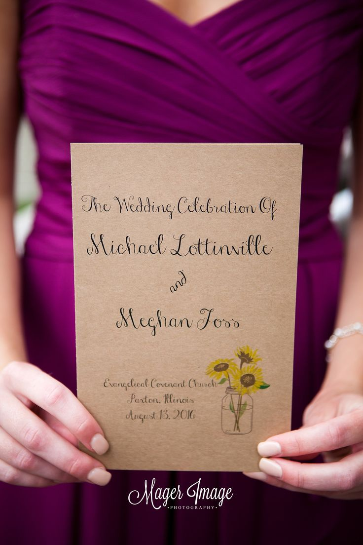 Invitation | Program | Sangria | Maroon | Bridesmaid | Sunflowers | Wedding | Mager Image Photography | Cute | Beautiful | Central Illinois Wedding Photographer | Wedding Photographer