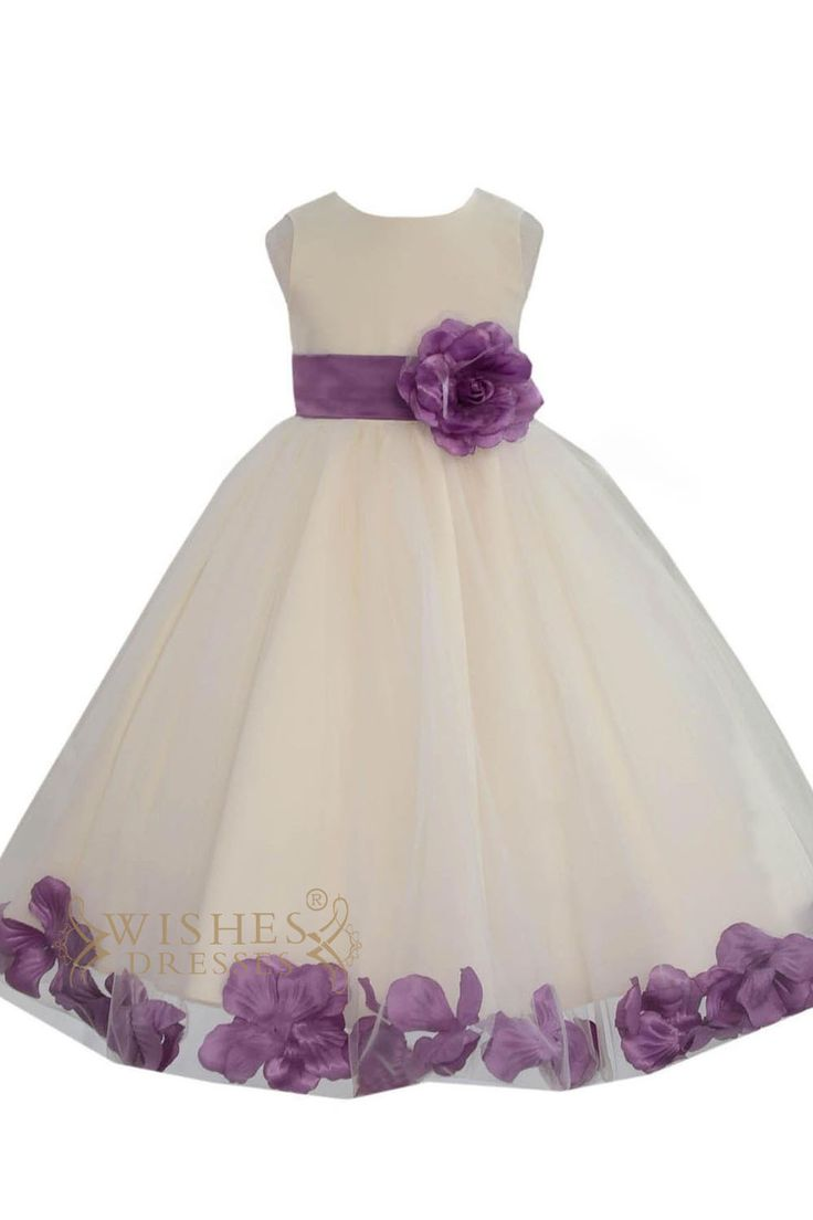 White satin and organza skirt with different color sash ,flower at front and bowknot at back,knee length is also available.please search am224 to see all colors. Neckline:O-neck Length:Floor length De                                                                                                                                                                                 More