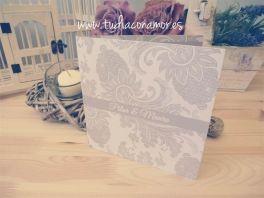 #invitacion de #boda #clasica con ornamentos en color gris <3 - design by Tu día Con Amor -