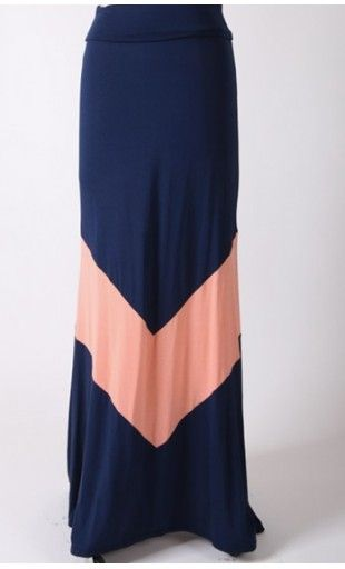 Womens Navy Modest A-Line Maxi Skirt with Bold Coral Chevron Print. - Apostolic Clothing