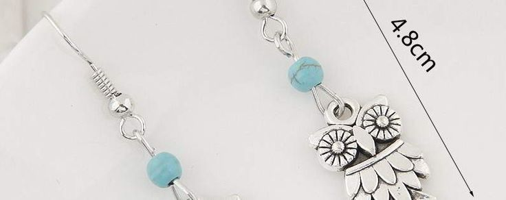 Bead Owl Silver Color+blue,Fashionable with passion. REPIN if you agree.  Only 10.5 IDR