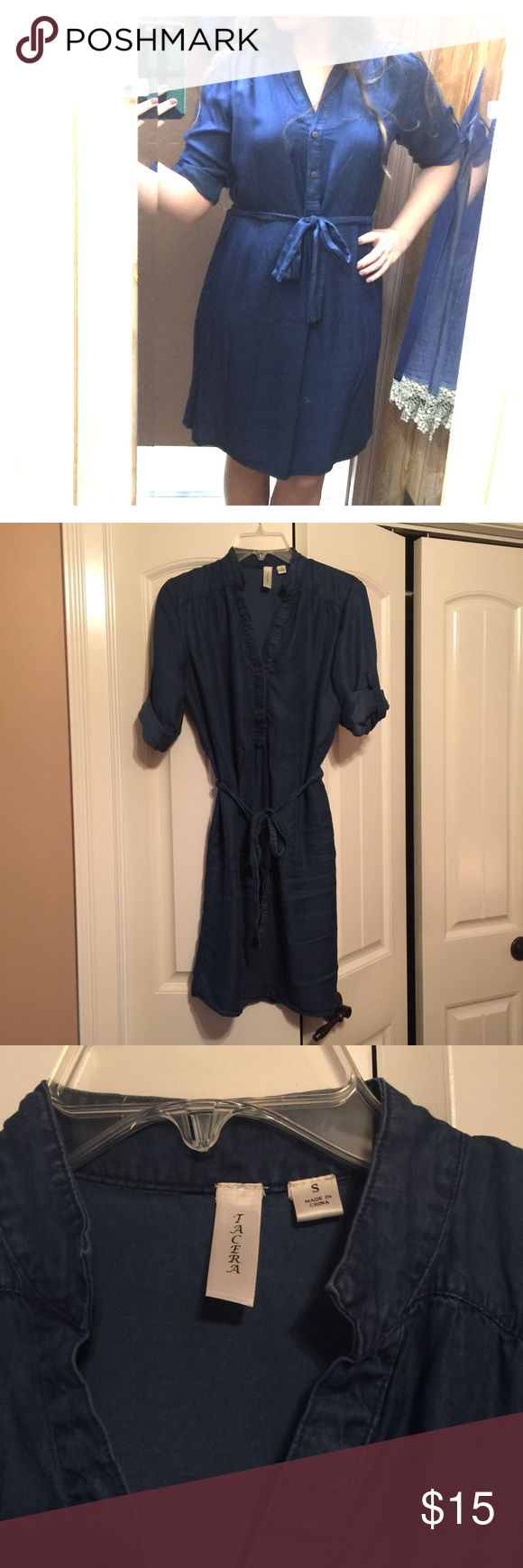 Denim chambray shirt dress Size small, just above knee length, comes with belt! Worn once! Dresses