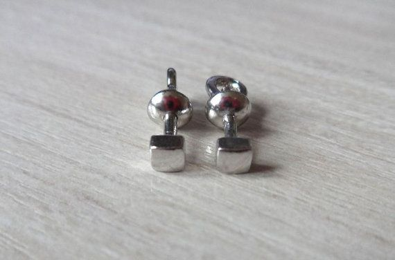 Silver Stud Earrings Cube Studs Male Post Stud by RedSilverStudio