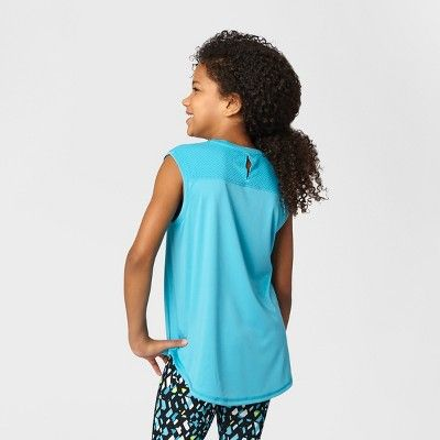 Girls' Graphic Muscle Tank - C9 Champion Turquoise XL, Blue