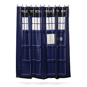 ThinkGeek :: Doctor Who TARDIS Shower Curtain - you can save it for when you move out because it doesn't go with my bathroom. ;)