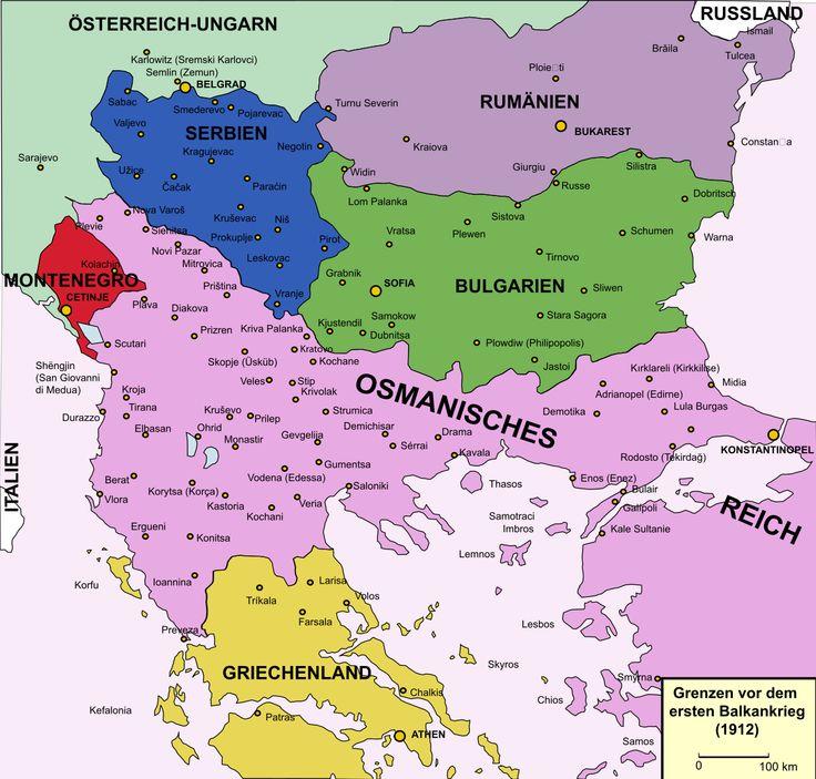 Deutsch: Grenzen 1912 vor dem ersten Balkankrieg. English: Frontiers 1912 before the First Balkans War.