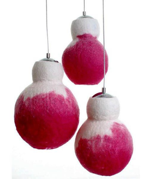 pendant lights with felted lampshades