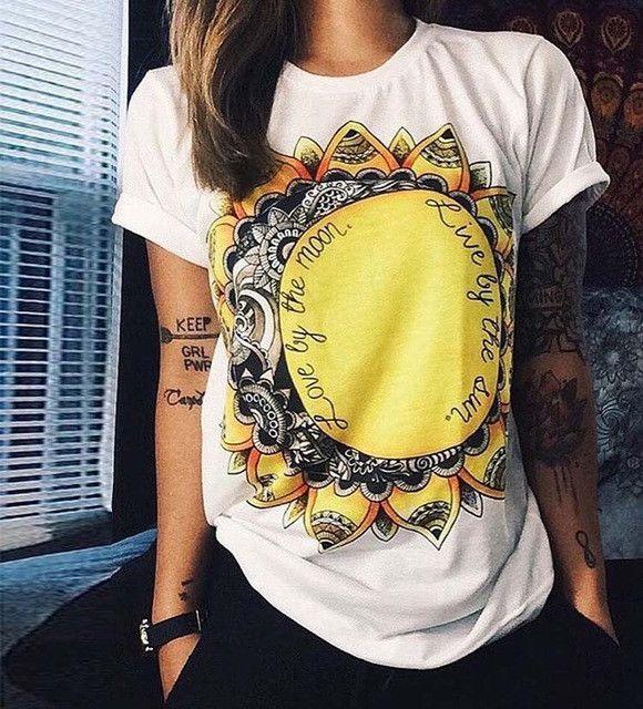 New Fashion Women T Shirts Short Sleeve women Printed Letters T-Shirts Female Retro Graffiti Flower Tops Tee Lady T Shirts