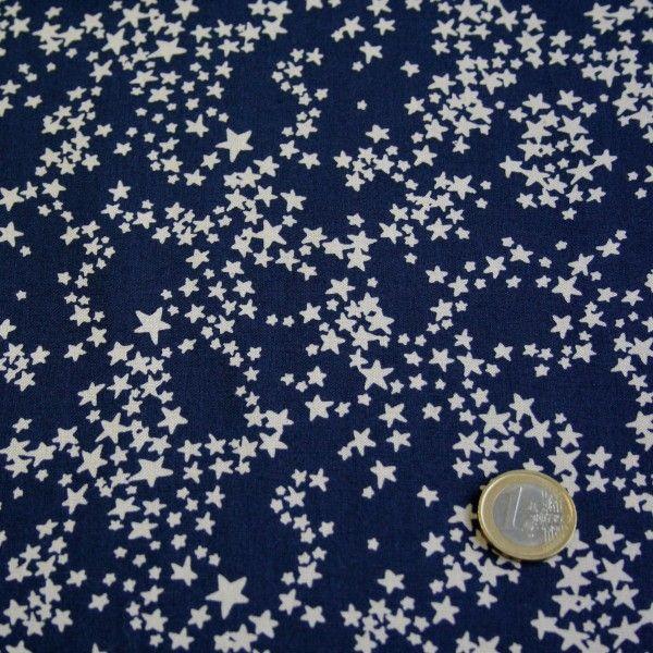"""Tissu de coton """"Poussière d'étoiles"""" bleu nuit à étoiles blanches"""