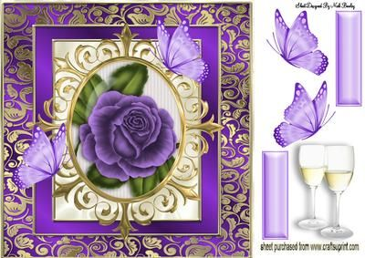 PURPLE ROSE IN ORNATE FRAME WITH BUTTERFLIES 8X8 on Craftsuprint designed by Nick Bowley - PURPLE ROSE IN ORNATE FRAME WITH BUTTERFLIES 8X8, Makes a pretty card, lots of other lovely floral designs to see - Now available for download!
