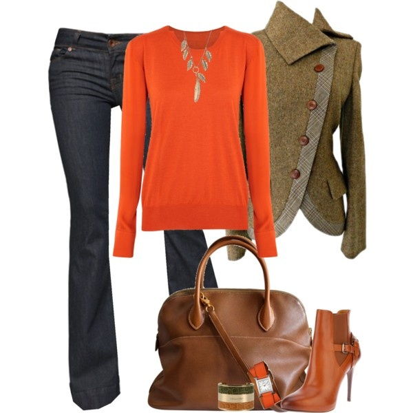 Outfit: Colors Combos, Jeans Outfits, Fashion Forward, Orange Sweaters, Full Outfits, Orange Outfits, Accessories, Interesting Jackets, Fall Photo