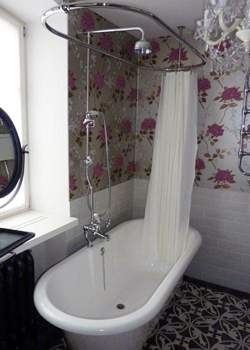 Roll top bath, shower, bathroom