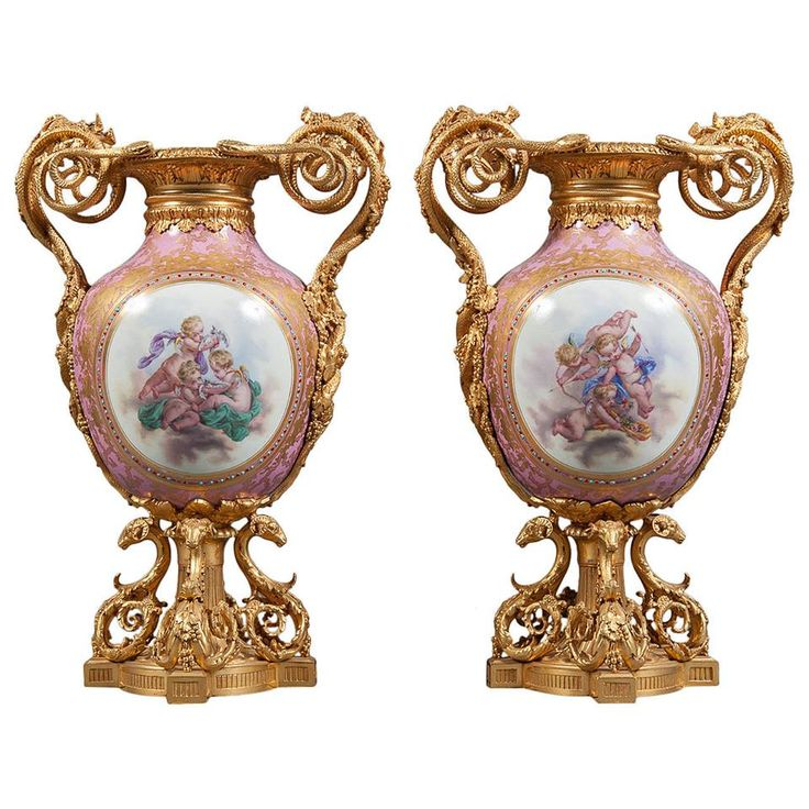 A Pair of 19th Century French Sevres Pink Ground Porcelain Gilt Bronze Mounted & Jeweled Vases