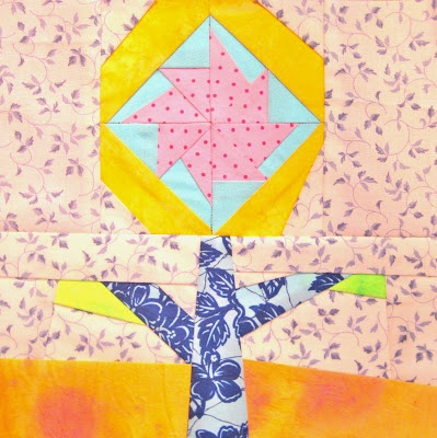 Paper Pieced Pattern-A-Day Garden Party Blog Hop, Day 23, Colorful Pinwheel by Alma Stoller.