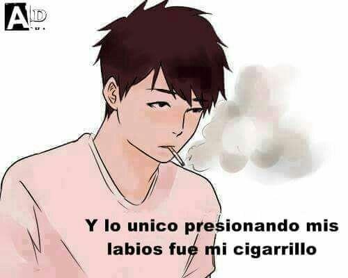 Y lo único presionando mis labios fue mi cigarrillo. Anime sad boy smoking