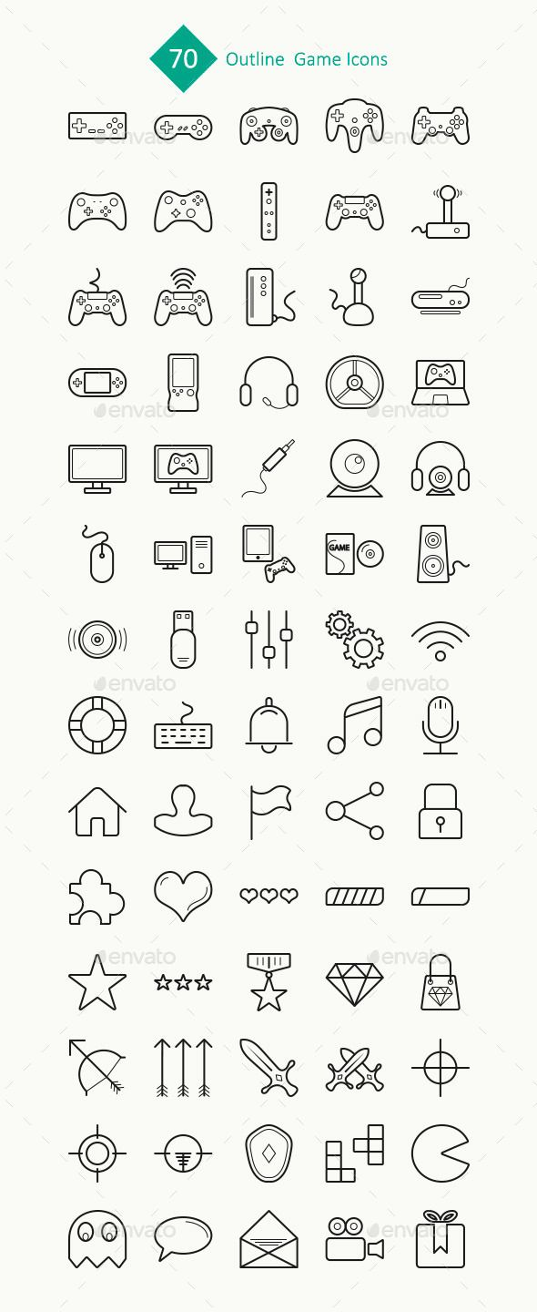 70 Outline Game Icons #design Download: http://graphicriver.net/item/70-outline-game-icons/11458094?ref=ksioks