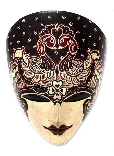 Wood Batik Mask from Indonesia