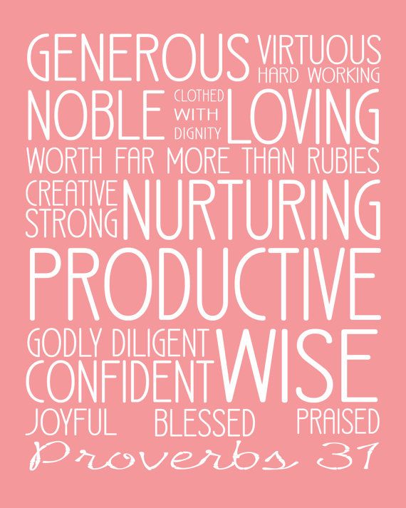 Instant Download Proverbs 31 Subway Art 8x10 Pink