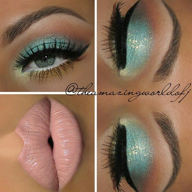 Hola Beauties! New look on deck Went on a beach field trip with my daughters kindergarten class today so i figured, why not create a beach inspired eye? All the Eyeshadows used are from the @bhcosmetics 120 Color Eyeshadow Palette 1st Edition!! I love it. Used: ▫ @nyxcosmetics JEP in white as base for the turquoise and yellows and on the waterline. ▫@milanicosmetics Eye Tech Perfection in Black @glitterinjections Glitter in Mermaid Lips ▫@houseoflashes Noir Fairy lashes And the soon to b