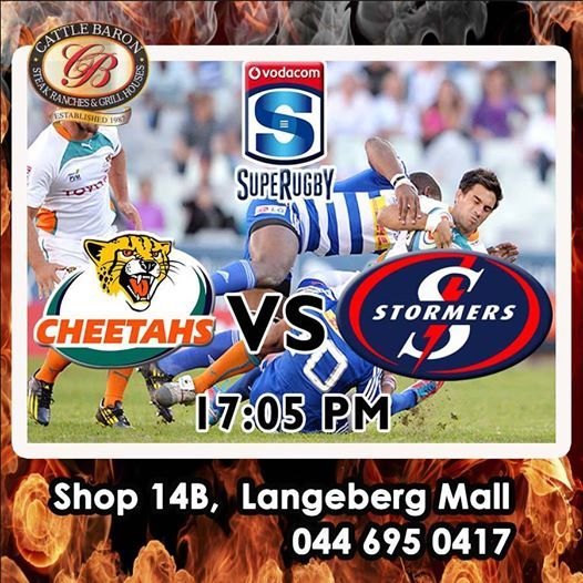 Don't miss all the action today - It's the Toyota Cheetahs VS DHL Stormers - 17:05 PM. Who do you think who will win? #supergees #SupeRugby