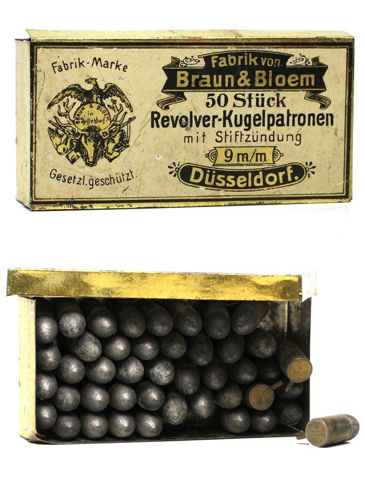 9mm Pinfire Cartridge Box by Braun and Bloem