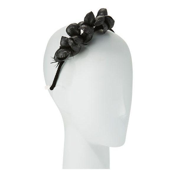 Gigi Burris Alchemia Silk Flower Headband ($375) ❤ liked on Polyvore featuring accessories, hair accessories, black, twisted headwrap, twist headband, head wrap hair accessories, flower headbands and hair band accessories