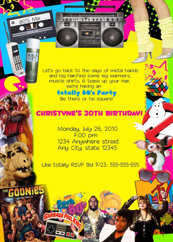 80's Retro personalized Custom Birthday Party invitations. $15.00, via Etsy.
