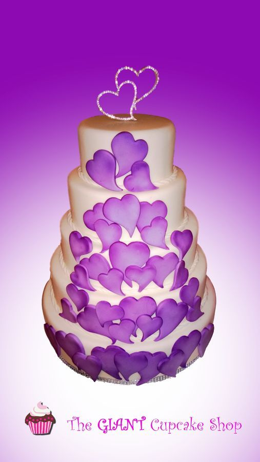 5 tier wedding cake with shaded purple edible hearts