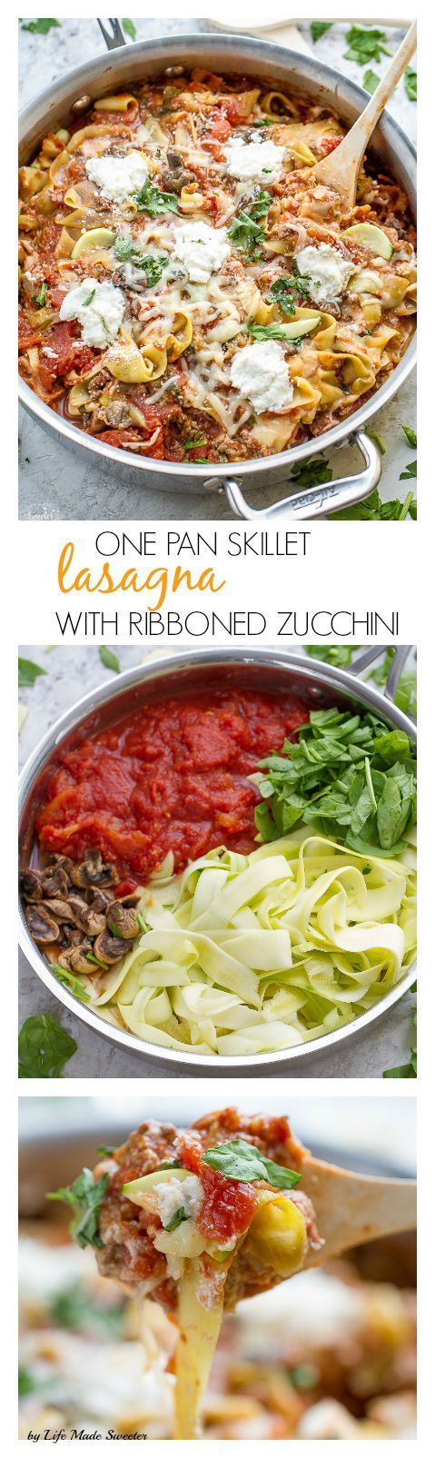 One Pan Skillet Ribbon Zucchini Noodles (Zoodles) makes a HEALTHY, easy, gluten free, lower carb dinner perfect for weeknights. Easy to use your mandoline or a spiralizer for spiralized veggies.