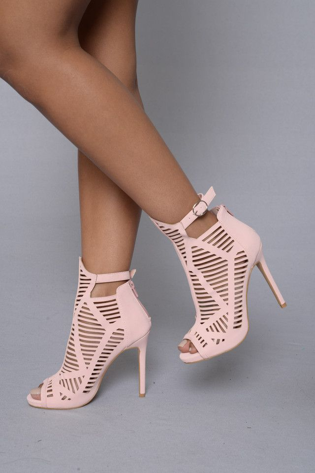 """- Available in black and pink - Caged Strappy - Ankle Strap with Buckle Closure - Zipper Back Closure - 4"""" Heel - PU"""