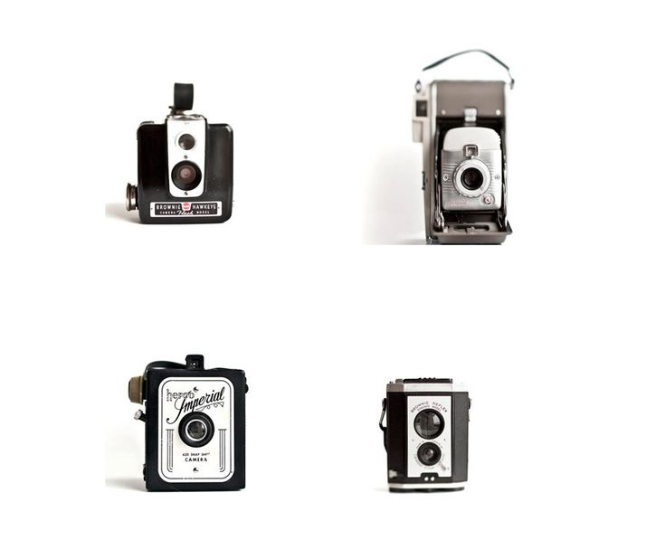 Vintage camera photography Polaroid Kodak set of 4 5x5 by Raceytay, $20.00