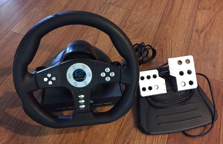 PlayStation 2 PS2  Pelican Cobra TT Steering Wheel Bundle Racing Games Used #Pelican