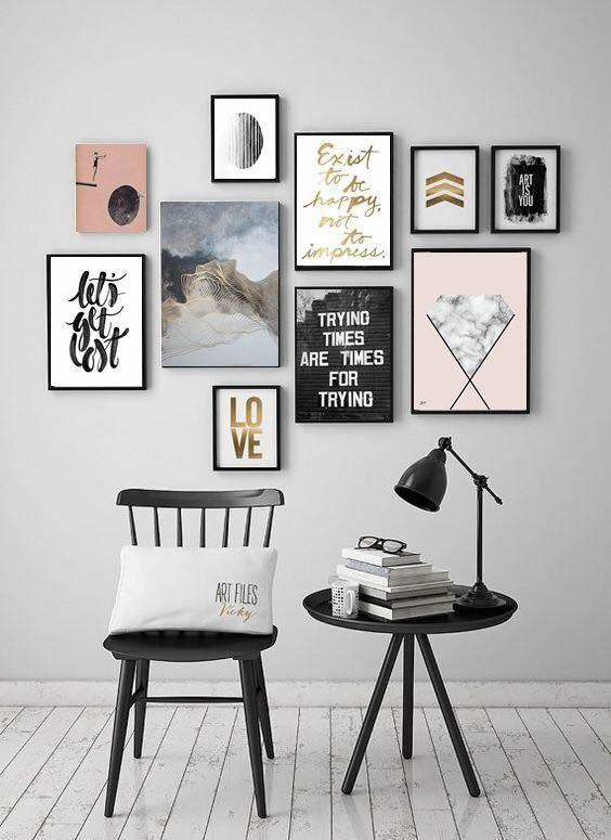 Bright and beautiful Home library Pinterest Gallery wall